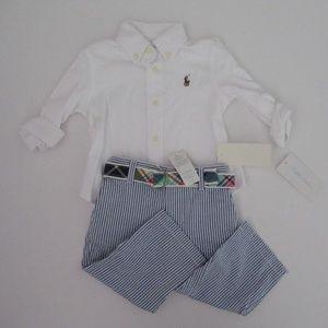 NWT Ralph Lauren LS Shirt Seersucker Pants Set